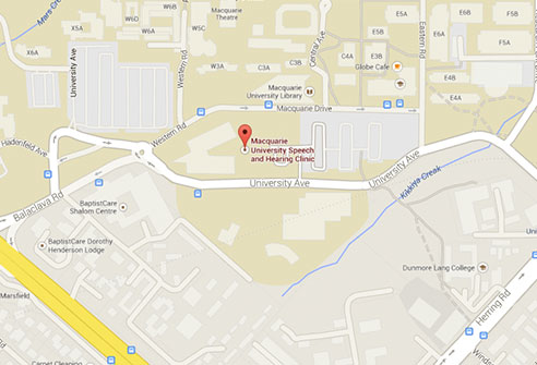 Flat coloured map of the area surrounding Macquarie University Speech and Hearing Clinic
